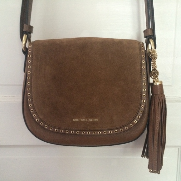 15fe2168c5c0 Michael Kors Brown Suede Leather Crossbody